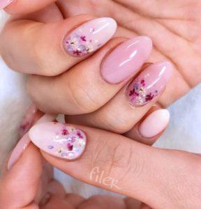 flower glitter Short Acrylic Nails