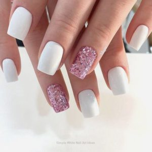 white with pink glitter Short Acrylic Nails