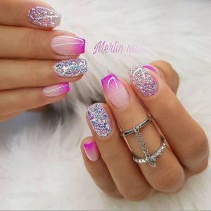 bright ombre Short Acrylic Nails