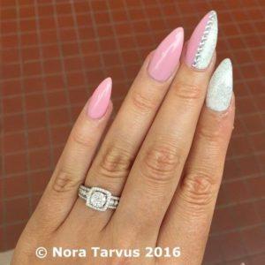 half pink half white