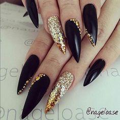 stiletto gold black