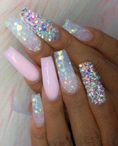 glam embellished acrylic nails coffin
