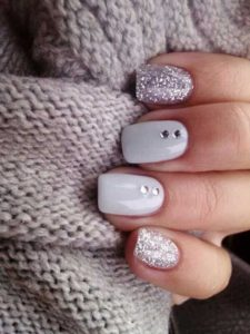 white with silver stones