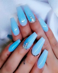 rhinestones blue acrylic nails coffin