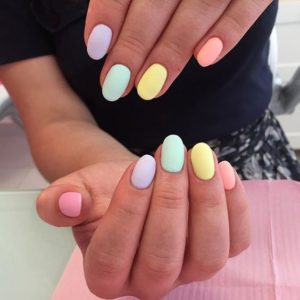 candied pastels Short Acrylic Nails