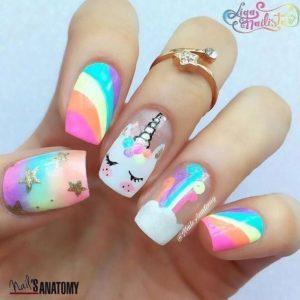 rainbow unbicorn Short Acrylic Nails