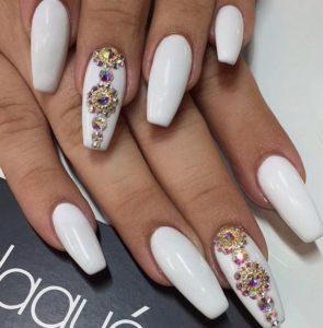white nails with rhinestones