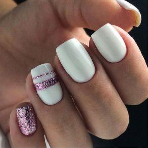 white short nails pink