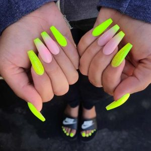 neon ombre coffin acrylic nails