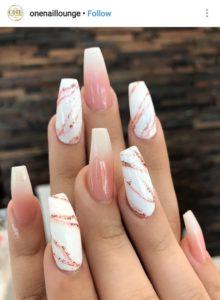 coffin nails marble white peach
