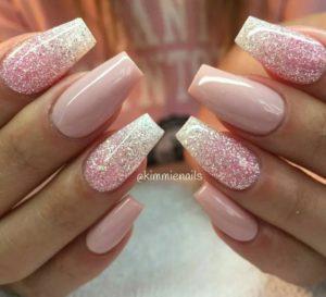 ballerina nails glitter baby pink