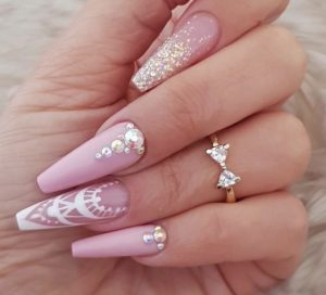 pink coffin nails with gems and glitter