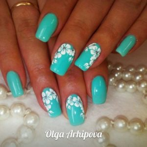 turquoise with white