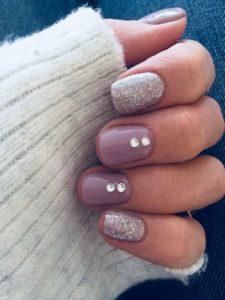 winter nail art and diamonds