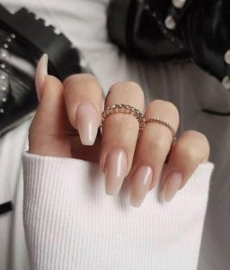 Barely there nude acrylic nails