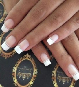 French manicure with double line
