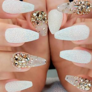 Bedazzled accent nails
