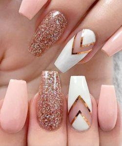 nude nails and chevron nail design