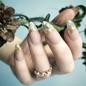 gold foil on clear nail tips