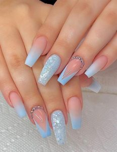 baby blue nail tips and sparkle