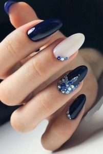 blue gems on accent nails