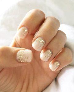 Gold glitter gradient nails