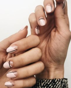 polish on half nail only with linear detail