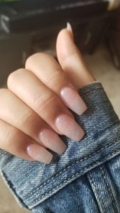 Hint of sparkle nude nails