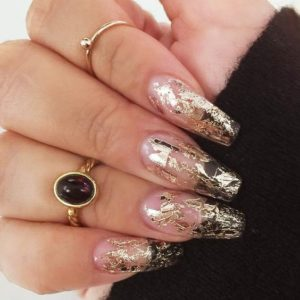 gold foil on clear nails