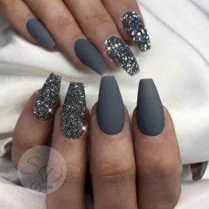 grey matte and sparkly nails