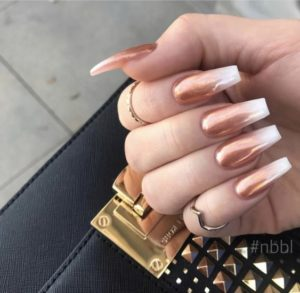 bronze ombre to white nail tips
