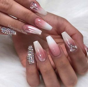 gem and sparkles on nude ombre