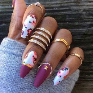 burgundy white flower nails