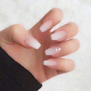 Natural Looking Acrylic Nails with diamonds