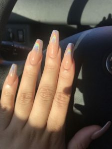 chrome Nude acrylic nails coffin