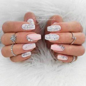 glam diamond nail design