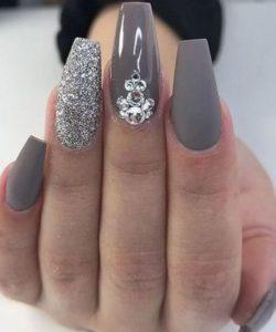 grey glitter acrylic nails with gems