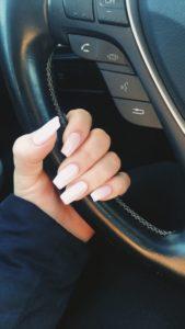 long coffin natural acrylic nails