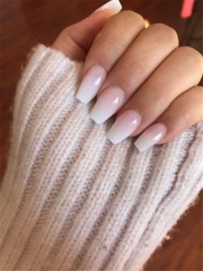 white acrylic nails ombre