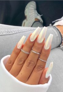 white chrome coffin nails acrylics
