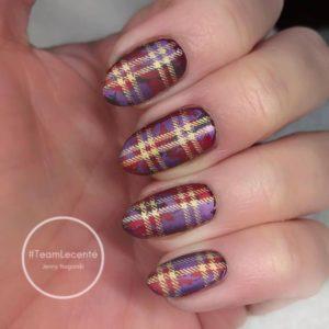 tartan pattern nail desing