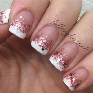 Rose gold glitter on French Manicure