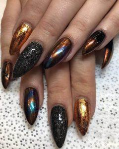 metallic nail foil shades on black nail base