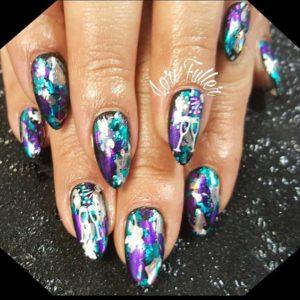 Vibrant colour nail foil and champagne glasses