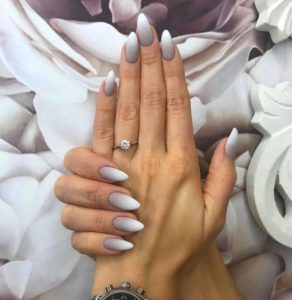 Grey ombre to white tips