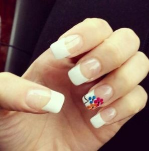 Bright florals on accent nail