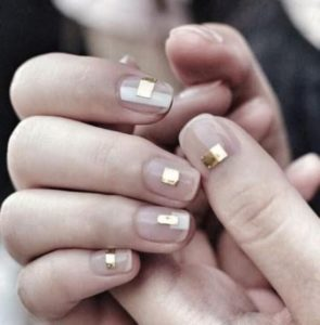 nude nails with square gold nail foil