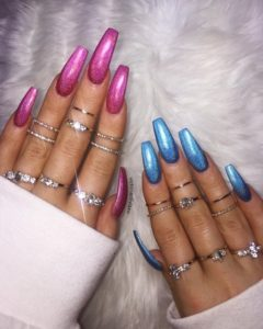sparkly pink and sparkly blue nail polish