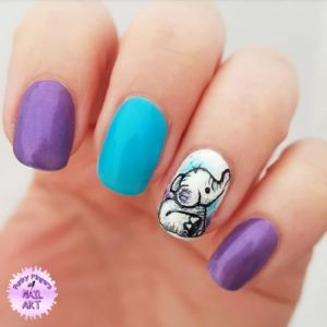 baby elephant nail art on accent nail