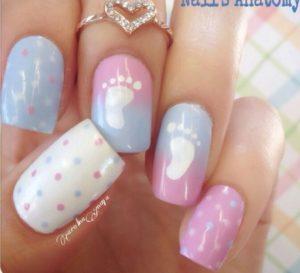 baby footprints nail art